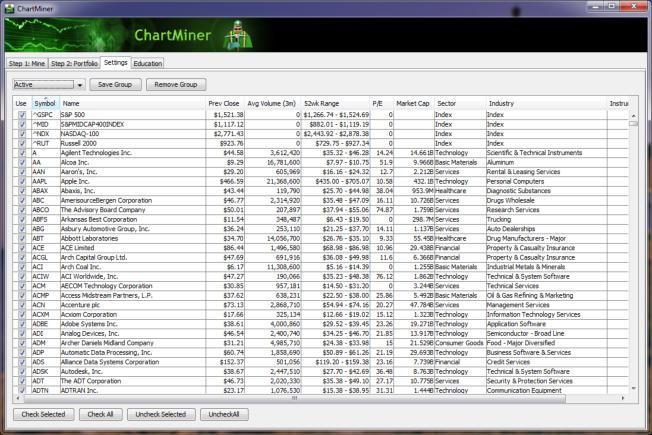 ChartMiner, Settings Tab